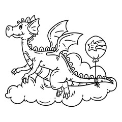 Cute cartoon flying dragon. Isolated objects on white background. Vector illustration. Coloring book.