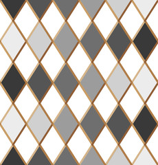 Seamless harlequin pattern. Pattern with rhombuses. Gray rhombuses with a gold frame. Vector illustration. Ornament for carnival and circus design