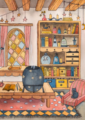 The house/room of witch. Watercolor hand drawn illustration.