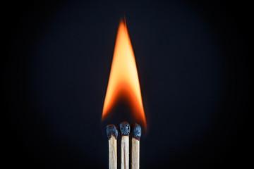 Three matches and all of them together Shine bright a single flame on a black background closeup