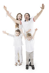 concept of family victory: a portrait of the triumphant family with gesture of hands up