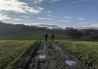Cycling on a sludgy path in Yorkshire, UK