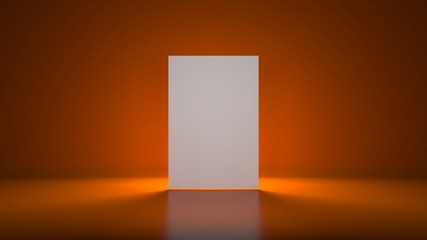 3d empty white boards on orange background with lights on back