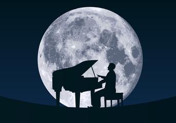pianiste - piano - musique - lune - clair de lune - musique classique - artiste - nuit - romantique