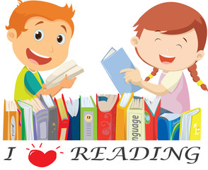 happy kids reading  books. isolated on white