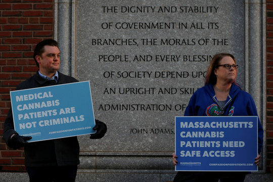 The Massachusetts Patient Advocacy Alliance protests the decision to rescind a policy easing enforcement in states that legalized marijuana, outside the federal courthouse in Boston