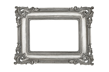 Silver picture frame isolated on white with clipping path