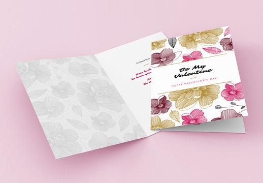 Modern Floral Valentine's Day Card Layout