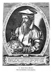 Gerardus Mercator, flemish geographer, contemporary copper engraving by Franz Hogenberg (from Spamers Illustrierte  Weltgeschichte, 1894, 5[1], 405)