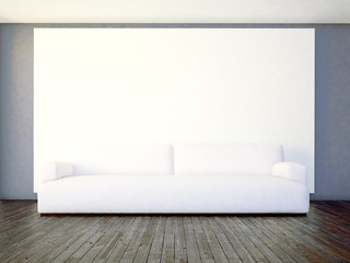 sofa in the room, 3d