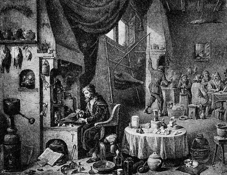 An alchemist in his laboratory by David Teniers the Younger (from Spamers Illustrierte  Weltgeschichte, 1894, 5[1], 406)