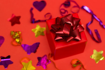 top view red gift box rwith red festive bow