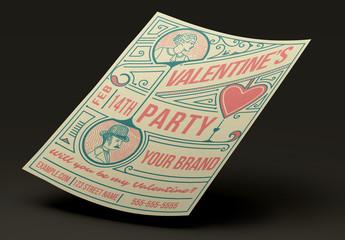 Retro Valentine's Day Party Flyer