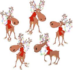 Garden Poster Baby room Set of Cartoon Illustration. Christmas Deer Cartoon Character for you Design
