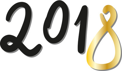 Neues Jahr 2018 - Jahreszahl mit goldener Ziffer 8, Handschrift, Schreibschrift