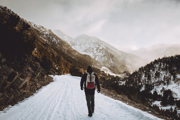 Tourist with backpack walking in mountains