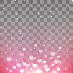 Heart bokeh shiny background with transparent effect