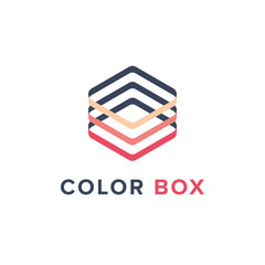 Color Box Geometric Logo Template