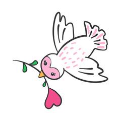 Hand drawn Bird with flower in heart shape.