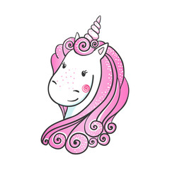 Cute hand drawn Unicorn icon.