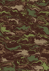 Swirly abstract shapes pattern in classic camouflage colors repeats seamlessly.