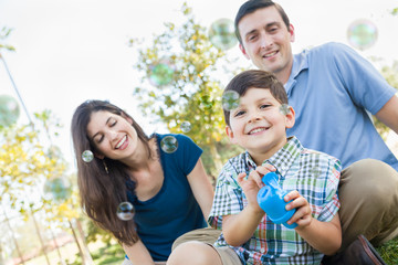 Young Boy Blowing Bubbles with His Parents in the Park.