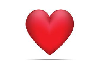 Valentine Love Red Heart on White Background Illustration