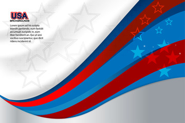 Flag of USA background for independence, veterans, memorial day and other events, Vector illustration Design
