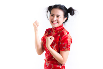 Young asian woman wearing chinese dress traditional cheongsam with gesture of congratulation, Looking at the camera and smile in Chinese New Year Festivities, New Year Celebration on white background.