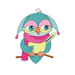Cute colorful cartoon owl is sick