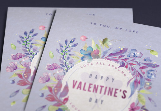 Painted Floral Valentine's Day Card Layout