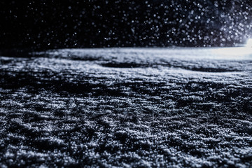 Backlit Snow Texture during Snowstorm at Night Wall mural