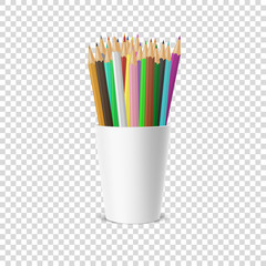 Vector realistic blank plastic cup-stand icon with a set of colored pencils. Closeup isolated on transparency grid background. Design template, clipart or mockup for graphics - web, app. Front view