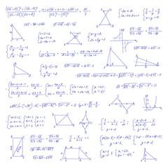 Hand drawn mathematical equation with handwritten algebra formulas
