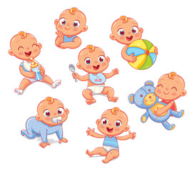 Happy smiling newborn boy in different situations