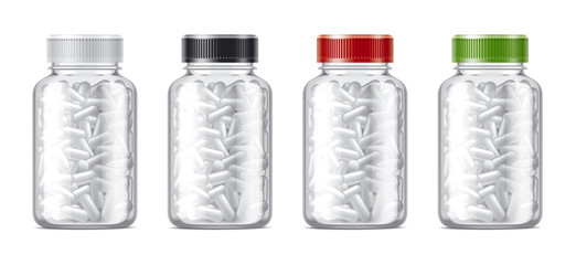 Blank bottles mockups for pills or other pharmaceutical preparations. Transparent bottles with pills