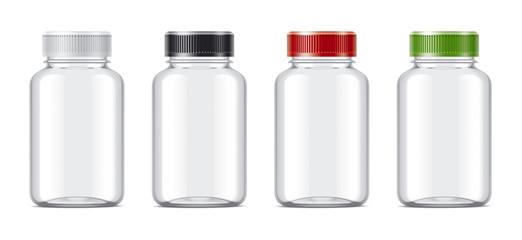 Blank bottles mockups for pills or other pharmaceutical preparations. Transparent empty bottles