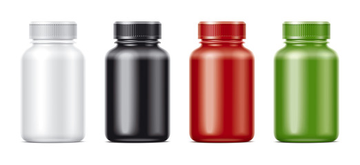 Blank bottles mockups for pills or other pharmaceutical preparations. Matts colored bottles