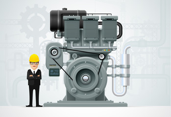 Industrial engine machinery factory engineering construction equipment