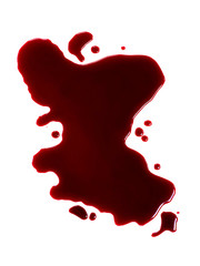 Red blood like puddle on white background