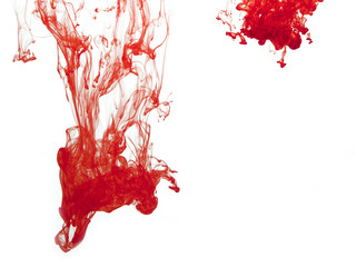 Red colour pigment in water, horizontal