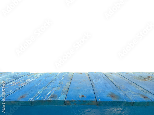 Blue Wooden Floor Top View With White Background Wood Texture Blue
