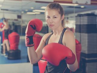 Portrait of woman boxer