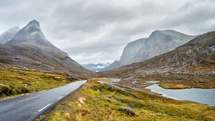 Road in the mountains of Norway, near the trollstigen (road of trolls)