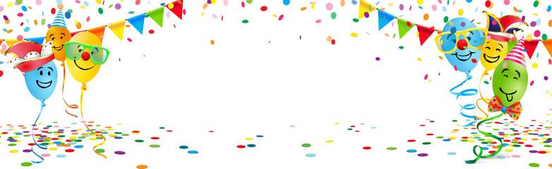 Bunte Luftballons mit lustigen Gesichtern, Konfetti, Wimpel Girlanden und Textfreiraum - Banner