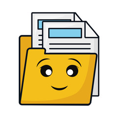 Folder with documents smiling cartoon