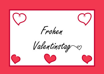 Valentins-Karte mit Herzchen und dem Text Frohen Valentinstag