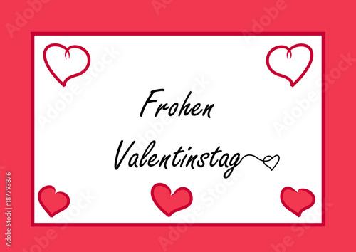 Valentins-Karte mit Herzchen und dem Text Frohen Valentinstag\