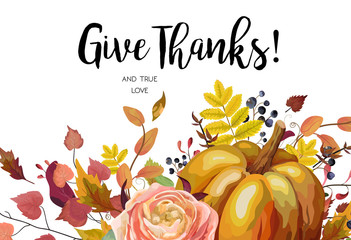 Happy Thanksgiving Vector floral watercolor style hand drawn Greeting card design: Autumn season Pumpkin pink ranunculus flower cute colorful natural fall leaf herb border frame Give Thanks text space