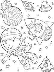 Stores à enrouleur Cartoon draw Astronaut Outer Space Vector Illustration Art